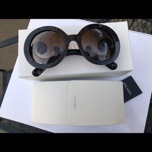 PRADA MINIMAL BAROQUE SUNGLASSES IN TORTOISE
